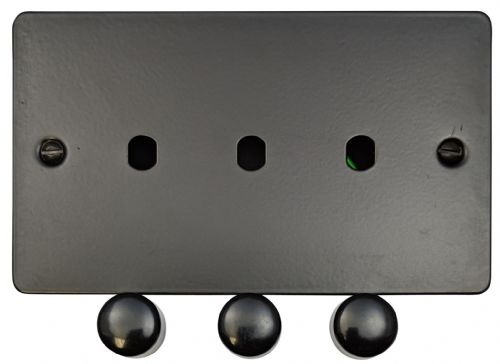 G&H FFB13-PK Flat Plate Matt Black 3 Gang Dimmer Plate Only inc Dimmer Knobs